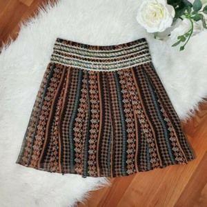 Free People Size 8 Silk Skirt Embellished Boho